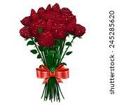 fresh rose bouquet red ribbon | Shutterstock .eps vector #245285620