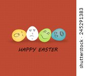 happy easter   egg with smile  | Shutterstock .eps vector #245291383
