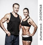 couple with beautiful athletic... | Shutterstock . vector #245309068