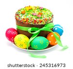 decorated easter cake and eggs... | Shutterstock . vector #245316973