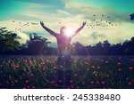 young girl spreading hands with ... | Shutterstock . vector #245338480
