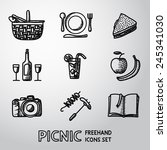 set of handdrawn picnic icons   ... | Shutterstock .eps vector #245341030