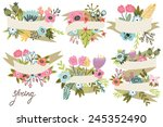 vector big set of floral... | Shutterstock .eps vector #245352490