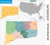 map of connecticut state... | Shutterstock . vector #245358190