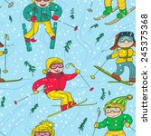cute doodle skiers seamless... | Shutterstock .eps vector #245375368