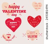 valentine day vector typography ... | Shutterstock .eps vector #245381494