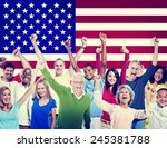 multi ethnic group of people... | Shutterstock . vector #245381788