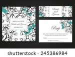 set of invitations with floral... | Shutterstock .eps vector #245386984