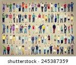 multiethnic casual people... | Shutterstock . vector #245387359