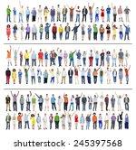 multiethnic casual people... | Shutterstock . vector #245397568