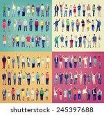 multiethnic casual people... | Shutterstock . vector #245397688