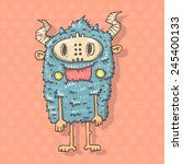cartoon monster savage | Shutterstock .eps vector #245400133