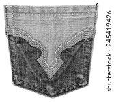 black jeans back pocket on... | Shutterstock . vector #245419426