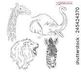 hand drawn safari animal set   Shutterstock .eps vector #245424370
