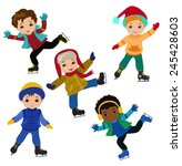funny boys in winter clothes... | Shutterstock .eps vector #245428603