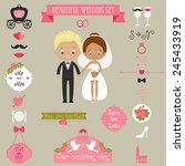 cute couple and big wedding...   Shutterstock .eps vector #245433919