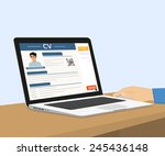 man is sitting at home desktop... | Shutterstock .eps vector #245436148
