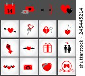 valentine's day  icon set made... | Shutterstock .eps vector #245445214