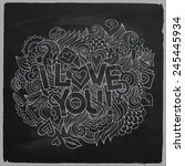 i love you hand lettering and... | Shutterstock .eps vector #245445934