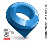 Shiny gloss blue Map pointer icon. Vector - stock vector