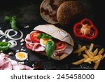 sandwich with ham  eggs ... | Shutterstock . vector #245458000