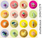 fruits icons set. ftas style...   Shutterstock .eps vector #245471179