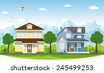 two houses on the outskirts | Shutterstock .eps vector #245499253