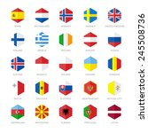 europe flag icons. hexagon flat ... | Shutterstock .eps vector #245508736