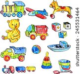 set of watercolor drawing baby... | Shutterstock .eps vector #245531464