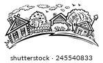 rural landscape. village houses ... | Shutterstock .eps vector #245540833