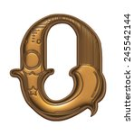 Gold Metallic Letter O On A...