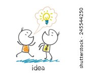 man with idea bulb runs to tell ... | Shutterstock .eps vector #245544250