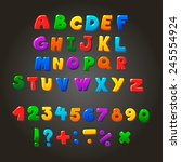 multicolored kids vector font   ... | Shutterstock .eps vector #245554924