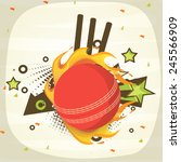 red cricket ball in fire with... | Shutterstock .eps vector #245566909