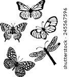 Stock vector silhouette set of isolate vector butterflies vector illustrator 245567596