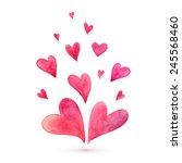 watercolor lovely vector hearts | Shutterstock .eps vector #245568460