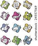 Set Of 12 Zodiac Signs  Cartoo...