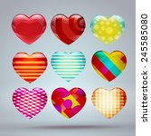 set with colorful hearts 3d ... | Shutterstock .eps vector #245585080