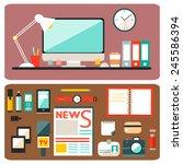 set of vector journalism icons. ...   Shutterstock .eps vector #245586394