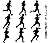 set of silhouettes. runners on... | Shutterstock . vector #245617384