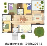 colorful floor plan of a house. | Shutterstock .eps vector #245620843