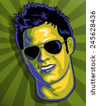 cute guy with sun glasses in... | Shutterstock .eps vector #245628436