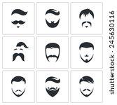 retro mens hair styles icon set | Shutterstock .eps vector #245630116