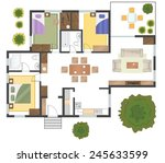 colorful floor plan of a house. | Shutterstock .eps vector #245633599