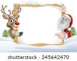 Cartoon Reindeer And Santa...