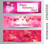 happy valentines day pink... | Shutterstock .eps vector #245645320