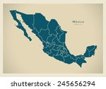 modern map   mexico with... | Shutterstock .eps vector #245656294