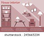 house living room interior flat ... | Shutterstock .eps vector #245665234