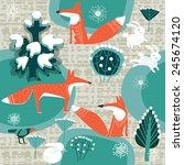 fox in winter forest | Shutterstock .eps vector #245674120