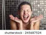 young woman reacting in shock... | Shutterstock . vector #245687524